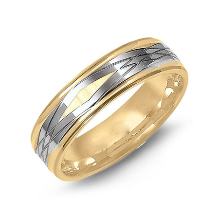 14kt Two-tone Gold 6mm Wedding Band with Rhombic Pattern