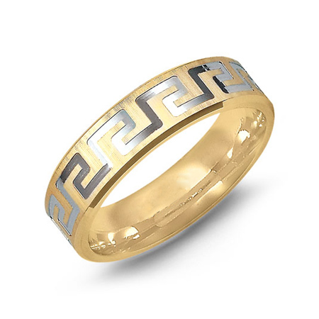 14kt Two-tone Gold 6mm Wedding Band with Greek Key