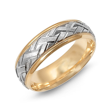 14kt Two-tone Gold 7mm Wedding Band with Zig Zag Pattern