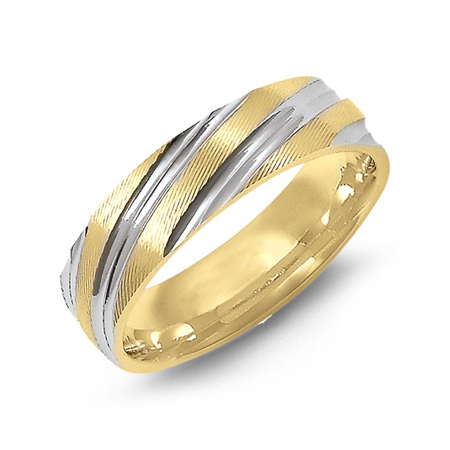 14kt Two-tone Gold 6mm Wedding Band with Stripes