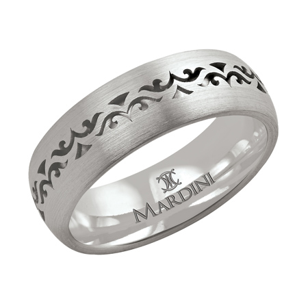14kt White Gold 7mm Wedding Band with Baroque Pattern