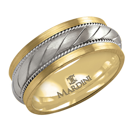14kt Two-tone Gold 9mm Wedding Band with Rope Pattern