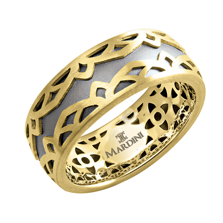 14kt Two-tone Gold 8mm Wedding Band with Fancy Motif