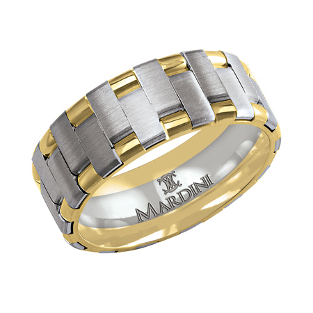 14kt Two-tone Gold 8mm Wedding Band with Offset Bars