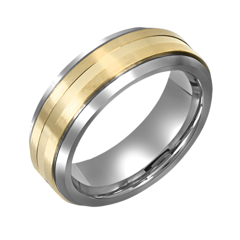 8mm Titanium Beveled Wedding Band with 10kt Gold Overlay
