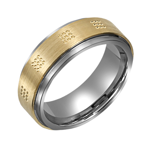 8mm Titanium Wedding Band with 10kt Gold Dotted Overlay