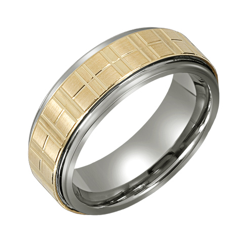 8mm Titanium Wedding Band with 10kt Gold Grid Overlay