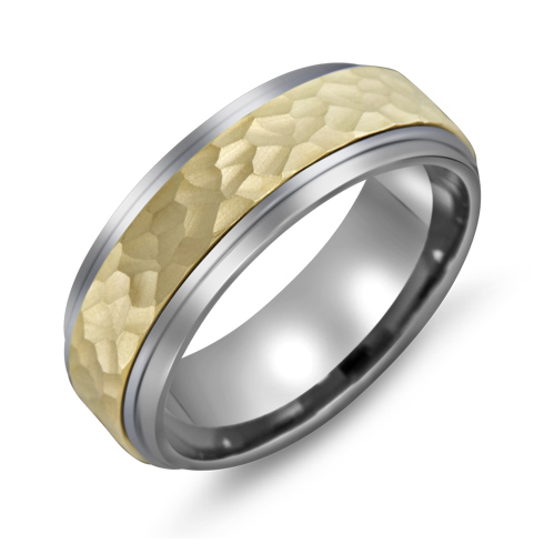 8mm Titanium Wedding Band with 10kt Gold Hammered Inlay
