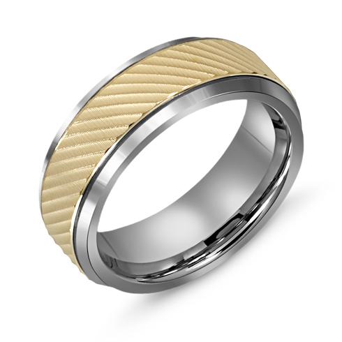8mm Titanium Wedding Band with 10kt Gold Diagonal Ridge Overlay