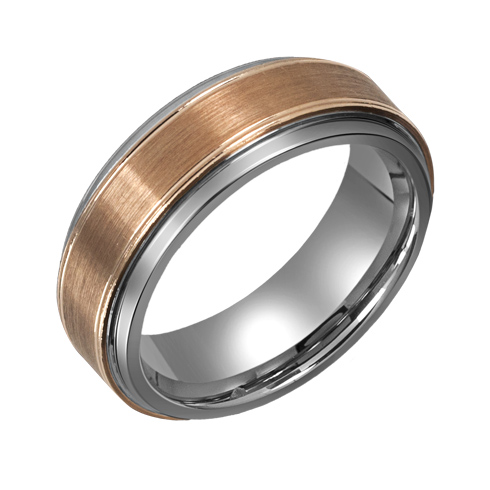 8mm Titanium Wedding Band with 10kt Gold Brushed Overlay