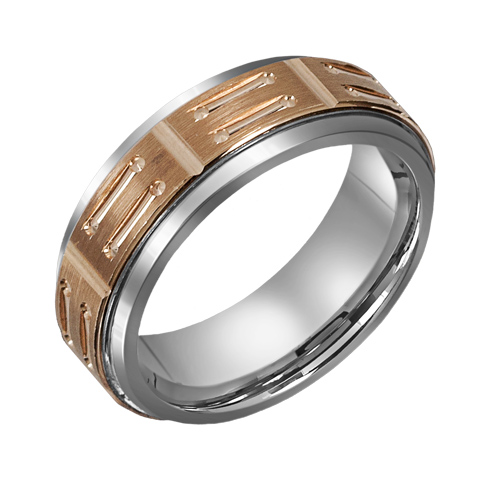 8mm Titanium Wedding Band with 10kt Gold Bar Design Overlay