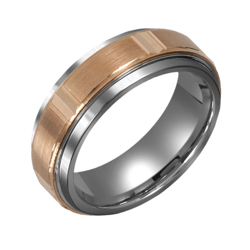 8mm Titanium Wedding Band with 10kt Gold Panel Design Overlay