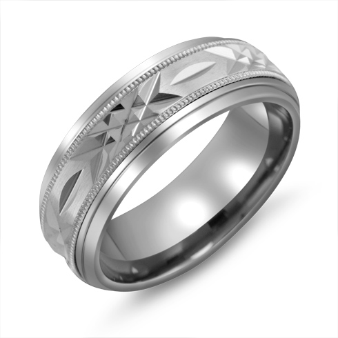 8mm Titanium Wedding Band with 10kt White Gold Fancy Overlay