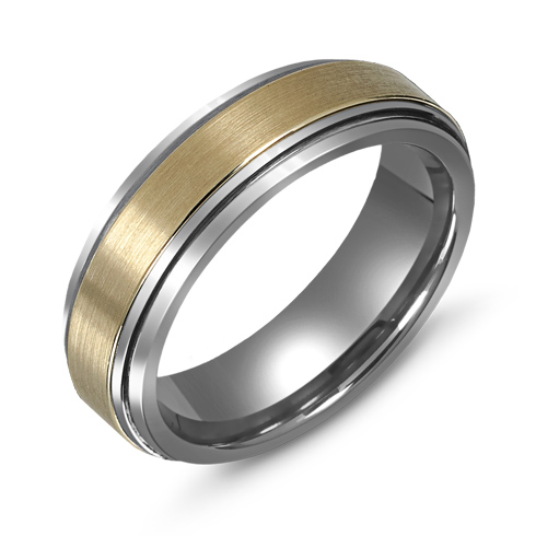 8mm Titanium Wedding Band with 10kt Gold  Overlay and Ridged Edges