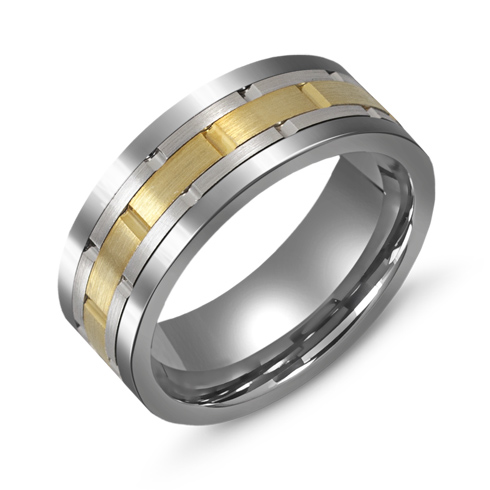 8mm Titanium Wedding Band with 10kt Two-tone Gold Grooved Overlay