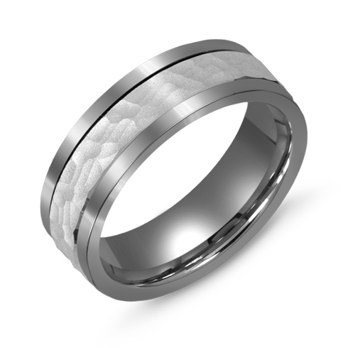 7mm Titanium Wedding Band with 10kt White Gold Hammered Overlay