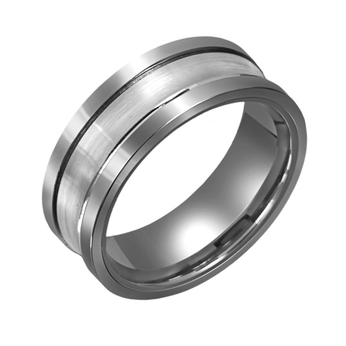 8mm Titanium Wedding Band with Concave 10kt White Gold Overlay