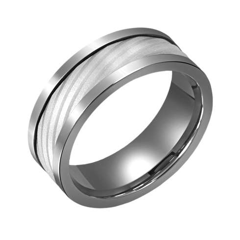 8mm Titanium Wedding Band with 10kt White Gold Diagonal Ridge Overlay