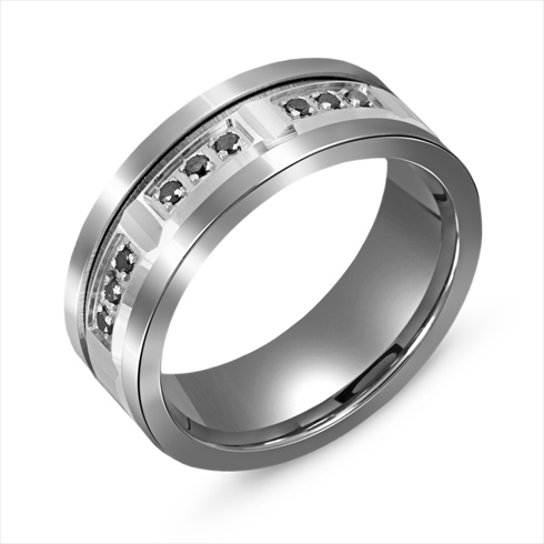 8mm Titanium Wedding Band with Black Diamonds and 10kt White Gold Overlay