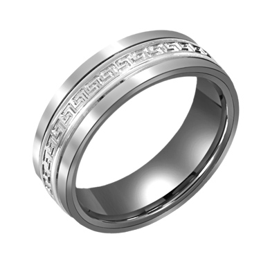 7mm Titanium Wedding Band with 10kt White Gold Greek Key Overlay