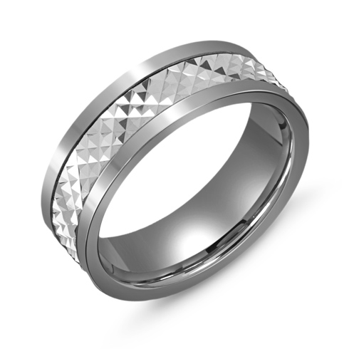 7mm Titanium Wedding Band with 10kt White Gold Pyramid Overlay