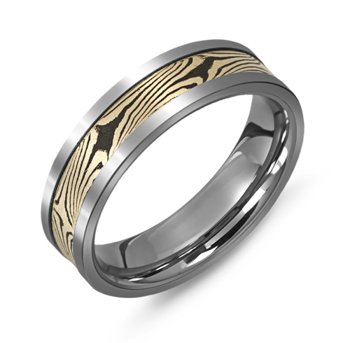 6mm Titanium Wedding Band with 10kt Gold Mokume Style Overlay