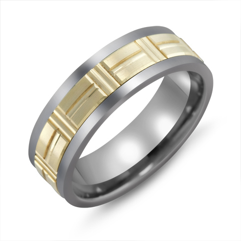 7mm Titanium Wedding Band with 10kt Yellow Gold Puzzle Overlay