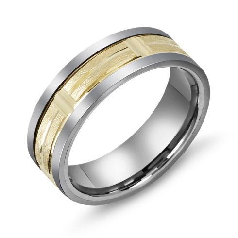 7mm Titanium Wedding Band with 10kt Yellow Gold Wire Brush Grooved Overlay