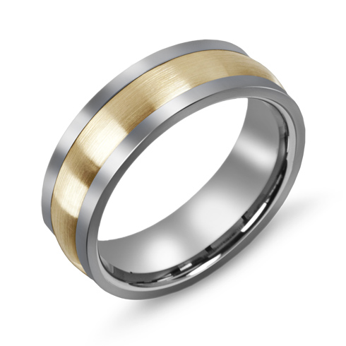 7mm Titanium Wedding Band with 10kt Yellow Gold Domed Brushed Overlay