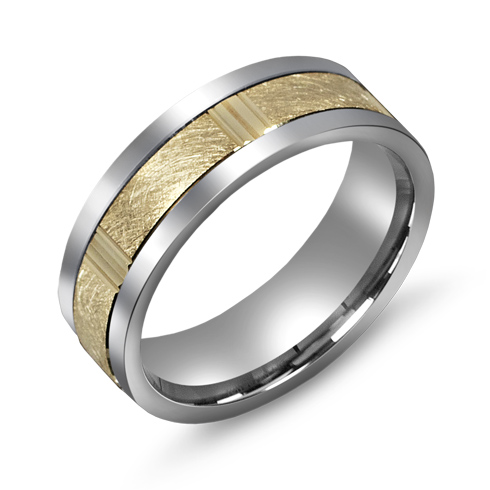 7mm Titanium Wedding Band with 10kt Yellow Gold Grooved Wire Brush Overlay