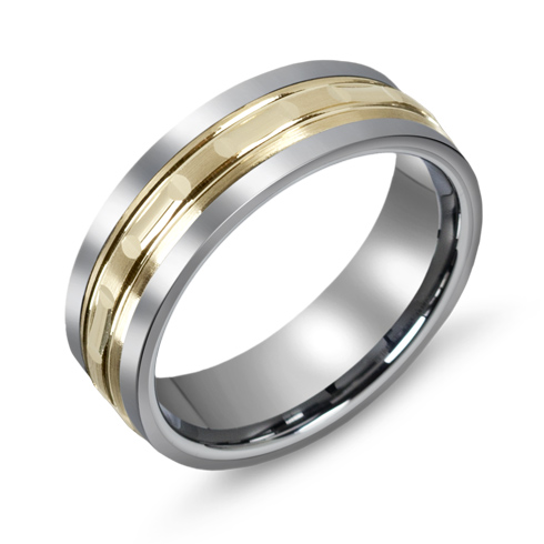 7mm Titanium Wedding Band with 10kt Yellow Gold Overlay and Grooves