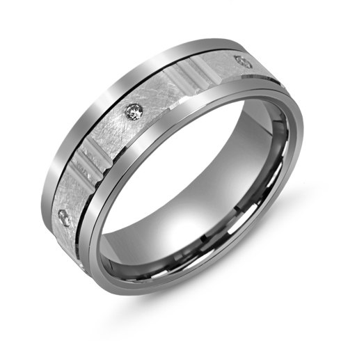 7mm Titanium Diamond Wedding Band with 10kt White Gold Overlay and Grooves