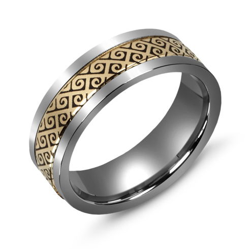 7mm Titanium Wedding Band with 10kt Yellow Gold Spiral Gate Overlay