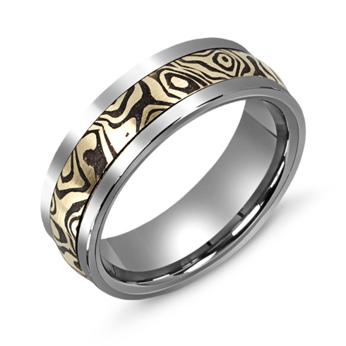 7mm Titanium Wedding Band with 10kt Yellow Gold Mokume Overlay