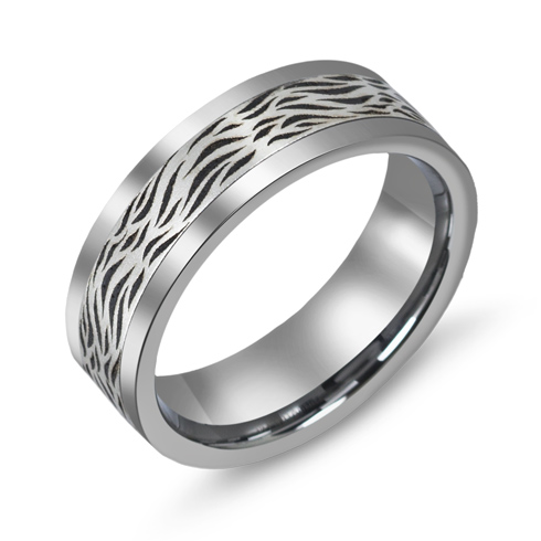 7mm Titanium Wedding Band with 10kt White Gold Striped Overlay