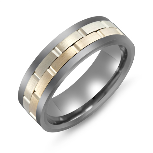 7mm Titanium Wedding Band with 10kt Two-tone Gold Overlay and Grooves