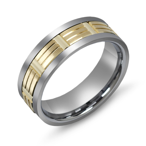 7mm Titanium Wedding Band with 10kt Gold Overlay and Diamond Cut Grooves