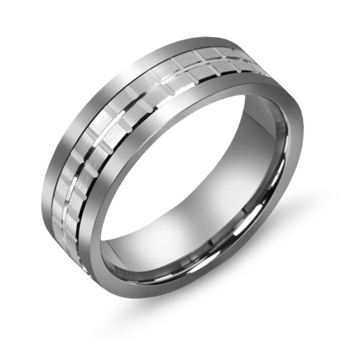 7mm Titanium Wedding Band with 10kt White Gold Squares Overlay