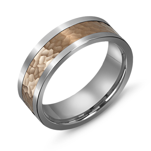 7mm Titanium Wedding Band with 10kt Rose Gold Hammered Overlay