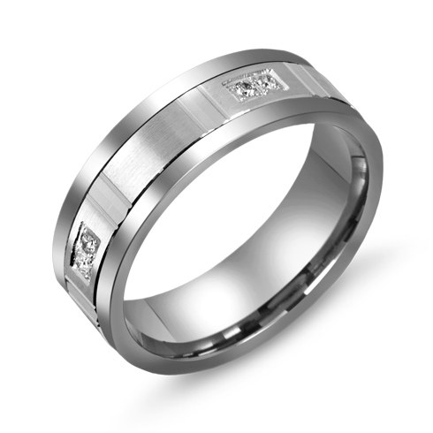 7mm Titanium Wedding Band with 10kt White Gold Overlay and Diamonds