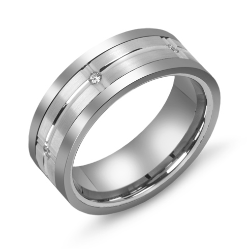 8mm Titanium Wedding Band 10kt White Gold Grooved Overlay and Diamonds