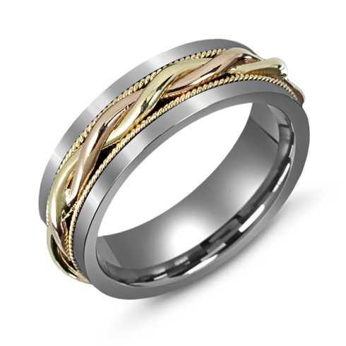 7mm Titanium Wedding Band with Woven 10kt Two-tone Gold Overlay