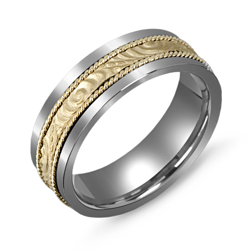 7mm Titanium Wedding Band with Decorative 10kt Gold Overlay