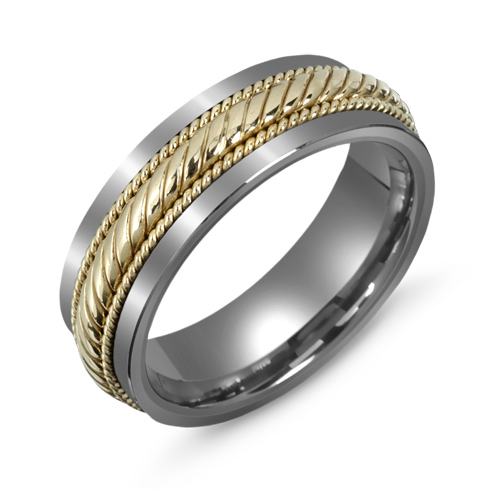 7mm Titanium Wedding Band with 10kt Gold Rope Overlay