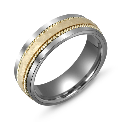 7mm Titanium Wedding Band with 10kt Gold Hammered Rope Overlay