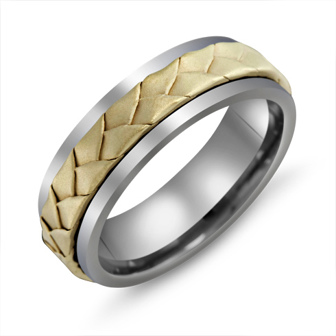 7mm Titanium Wedding Band with 10kt Gold Flat Woven Overlay