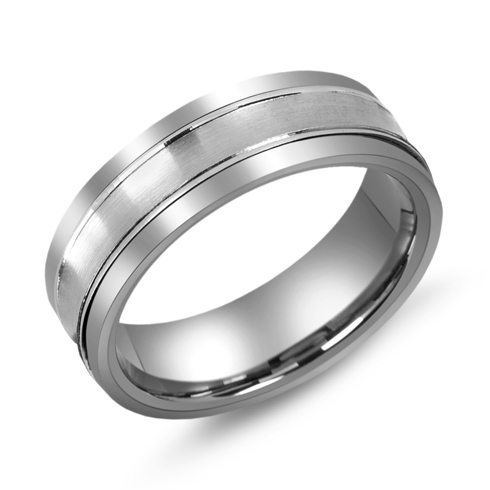 7mm Titanium Wedding Band with 10kt White Gold Overlay and Grooves