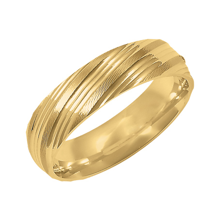 14kt Yellow Gold 6mm Wedding Band with Cut Ridges