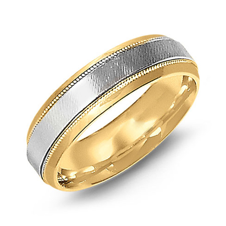 14kt Two-tone Gold 6mm Beveled Wedding Band with Milgrain