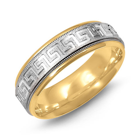 14kt Two-tone Gold 7mm Greek Key Wedding Band with Milgrain